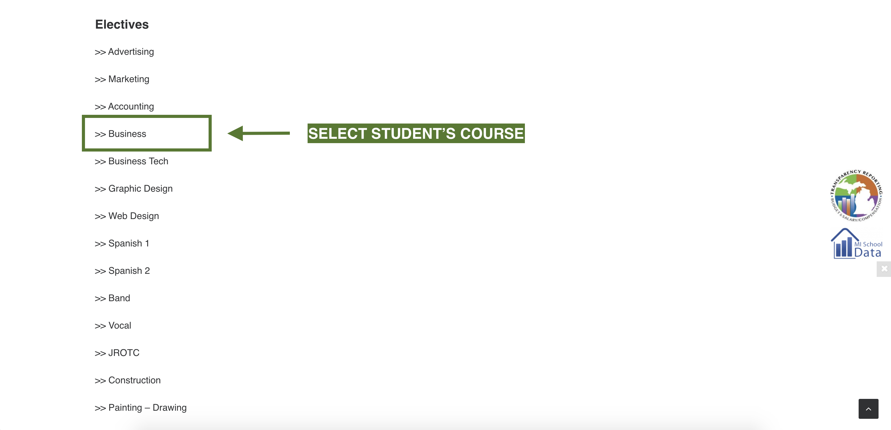 Course Selection Directions Screenshot